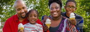 pediatric services woman and child with ice cream