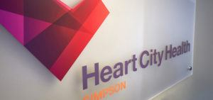 Heart City Health sign simpson location